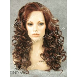 Kanekalon Wig. Curly Long Chestnut Highlighted Wig