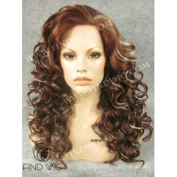 Kanekalon Wig. Curly Long Chestnut Highlighted Wig