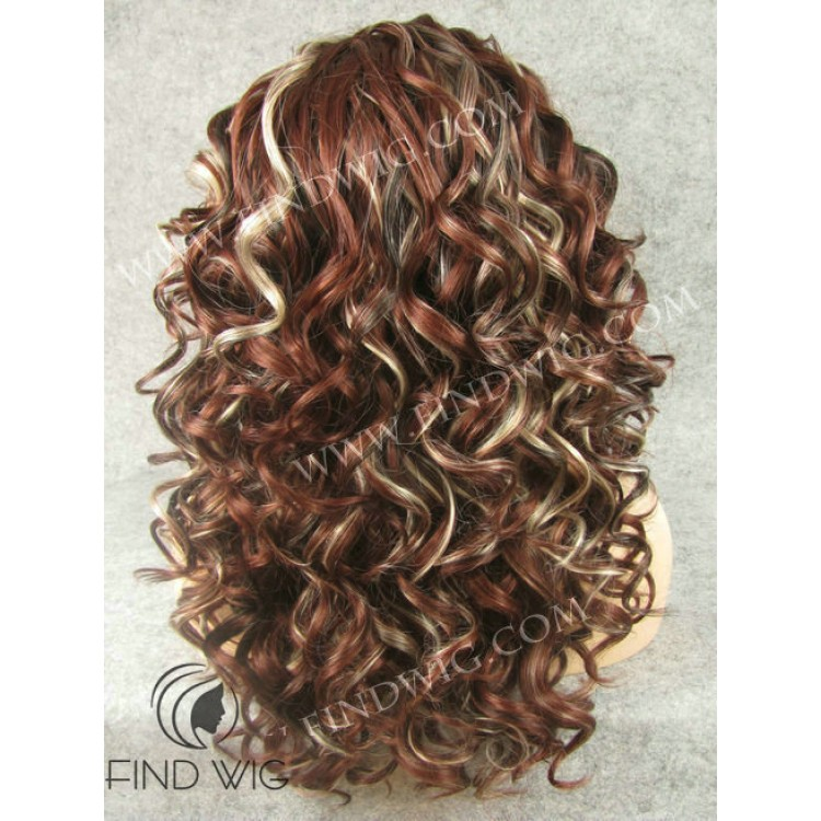 Curly Long Chestnut Highlighted Wig. Kanekalon Wig. Wigs Online
