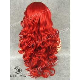 Wavy Bright Red Long Wig for Show and Performance