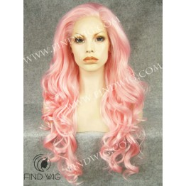 Pink Wavy Long Lace Front Wig For Stage and Performance