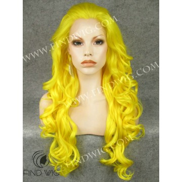 Drag Lace Front Wig. Wavy Yellow Long Wig