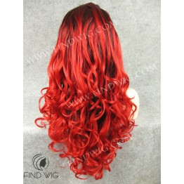 Wavy Red Long Wig. Lace Front Wig For Show And Performance