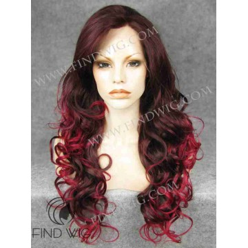 Drag Lace Front Wig. Wavy Dark Red Long Wig
