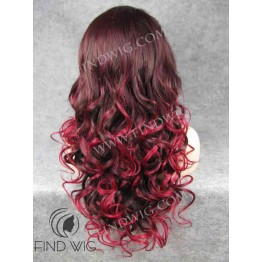 Drag Lace Front Wig Wavy Dark Red Long Hair