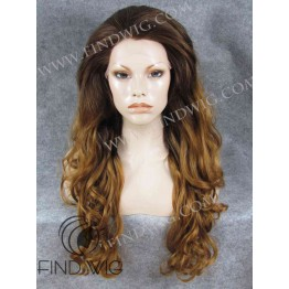 Wavy Ginger Long Wig With Dark Roots