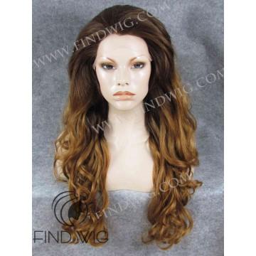 Wavy GingerLong Wig With Dark Roots