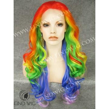 Drag Lace Front Wig Wavy Rainbow Long Wig. Gay Color Wig