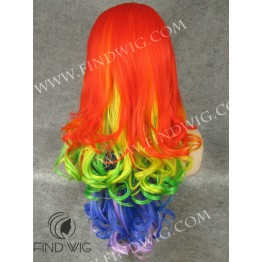 Drag Lace Front Wig Wavy Rainbow Long Wig