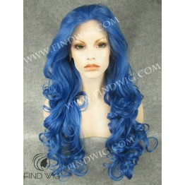 Drag Lace Wig. Wavy Blue Long Wig