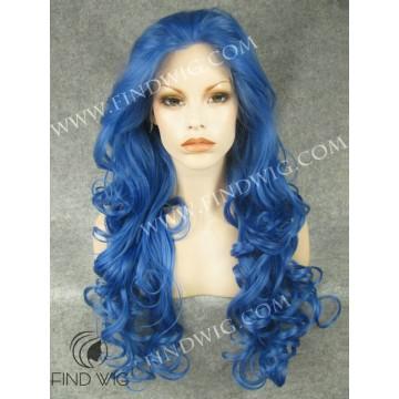 Drag Lace Wig. Wavy Blue Long Wig