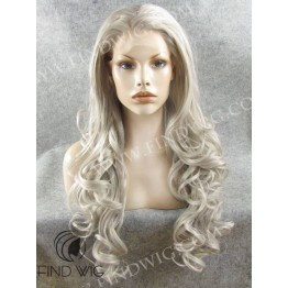 Lace Front Wig. Wavy Ash Grey Blonde Long Wig