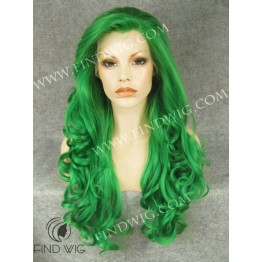 Lace Front Wig For Show. Wavy Green Long Wig