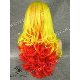 Drag Lace Wig. Wavy Long Yellow Sunrise Wig. Costume Wigs