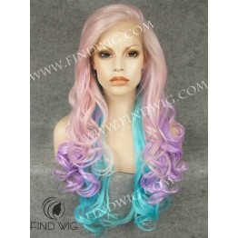 Lace Front Wig For Show. Wavy Lavender Long Wig
