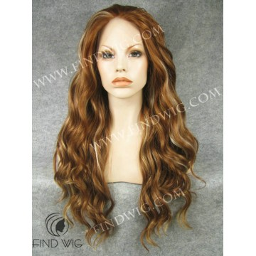 Wavy Highlighted Gold Blonde / Ginger Long Lace Front Wig