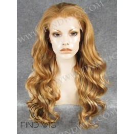 Kanekalon Wig. Wavy Blonde Gold Long Highlighted Wig