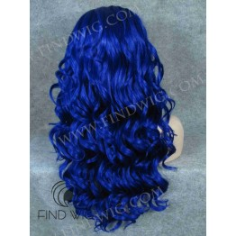 Wavy Blue Long Lace Front Wig for Stage Show and Performance
