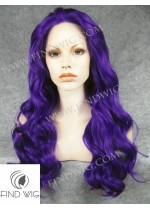 Lace Front Wig Wavy Blue Long Hair. New Style Wig