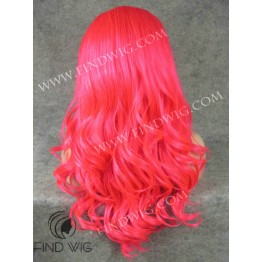 Drag Lace Front Wig. Wavy Long Fuchsia Wig