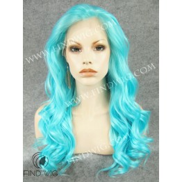Stage Lace Front Wig. Wavy Turquoise Long Wig