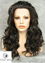 Lace Front Wig Curly Brown Mixed Long Hair. New Style Wig