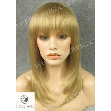 Skin Top Wig. Straight Blonde Medium Long Wig