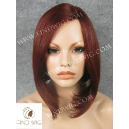 Skin Top Wig. Straight Red Medium-Long Wig