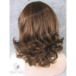 Skin Top Wig. Wavy Chestnut Medium-Long Wig