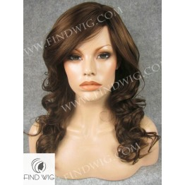 Skin Top Wig. Wavy Chestnut Medium Long Wig