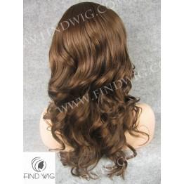 Skin Top Wig. Wavy Chestnut Medium-Long Wig