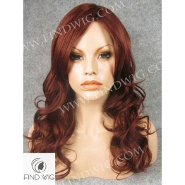 Skin Top Wig. Wavy Red - Ginger Long Wig