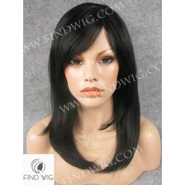 Skin Top Wig. Straight Black Medium-Long Wig