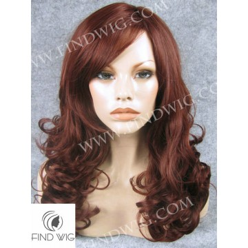 Skin Top Wig. Wavy Red Medium-Long Wig
