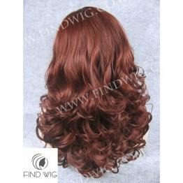 Skin Top Wig. Wavy Red - Ginger Medium-Long Wig