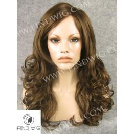 Skin Top Wig. Wavy Brown Medium Long Wig