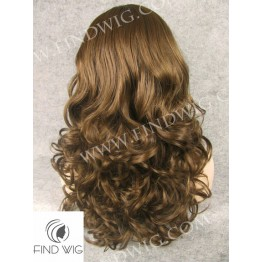 Skin Top Wig. Wavy Brown Medium - Long Wig
