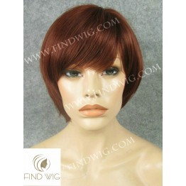 Skin Top Wig. Straight Red Short Hair