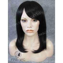 Monofilament Wig. Straight dark-brown medium-long wig