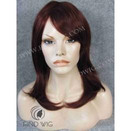 Monofilament Wig. Straight dark red medium long wig