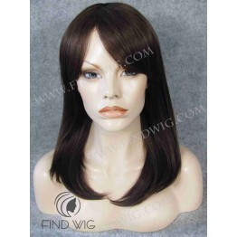 Monofilament Wig. Straight chestnut medium-long wig