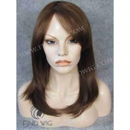 Monofilament Wig. Straight highlighted chestnut medium-long wig