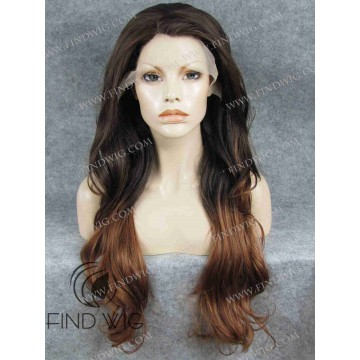 Long Wavy Chestnut Lace Front Wig With Dark Roots