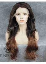 Wavy Chestnut Wig With Dark Roots. Wigs Store