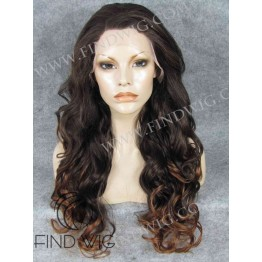 Long Wavy Chestnut Wig With Dark Roots