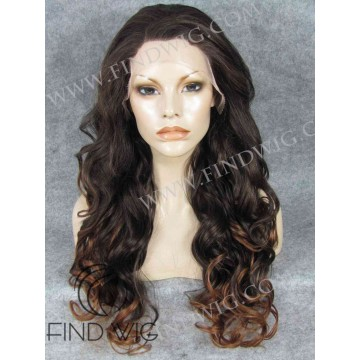 Long Wavy Chestnut Lace Wig With Dark Roots