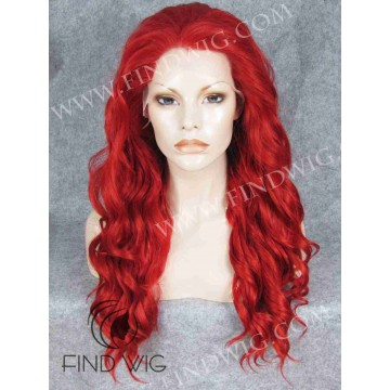 Drag Halloween Wig. Wavy Bright Red Long Wig