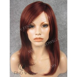 Skin Top Wig. Straight Red Medium Long Wig