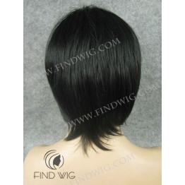 Skin Top Wig. Straight Black Short Wig