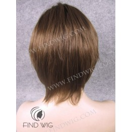 Skin Top Wig. Straight Chestnut Short Wig